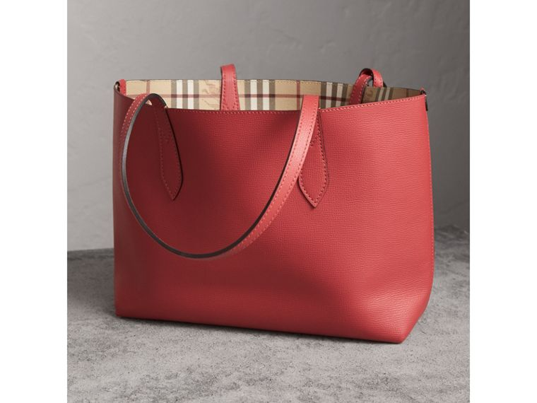 The Small Reversible Tote in Haymarket Check and Leather in Coral Red - Women | Burberry - cell image 4