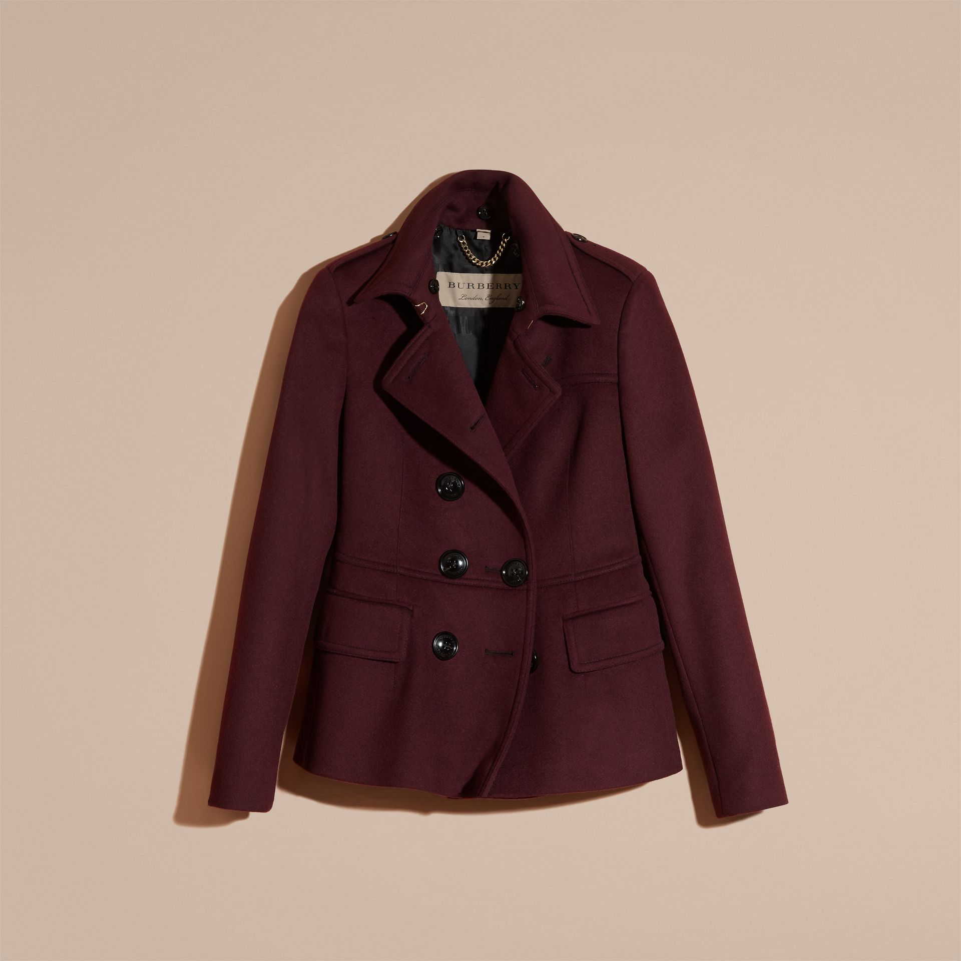 Deep claret Double-breasted Wool Cashmere Fur Collar Coat - gallery image 4