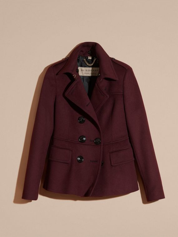 Deep claret Double-breasted Wool Cashmere Fur Collar Coat - cell image 3