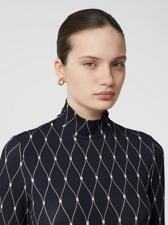Net Print Stretch Jersey Turtleneck Top in Black - Women | Burberry - cell image 1