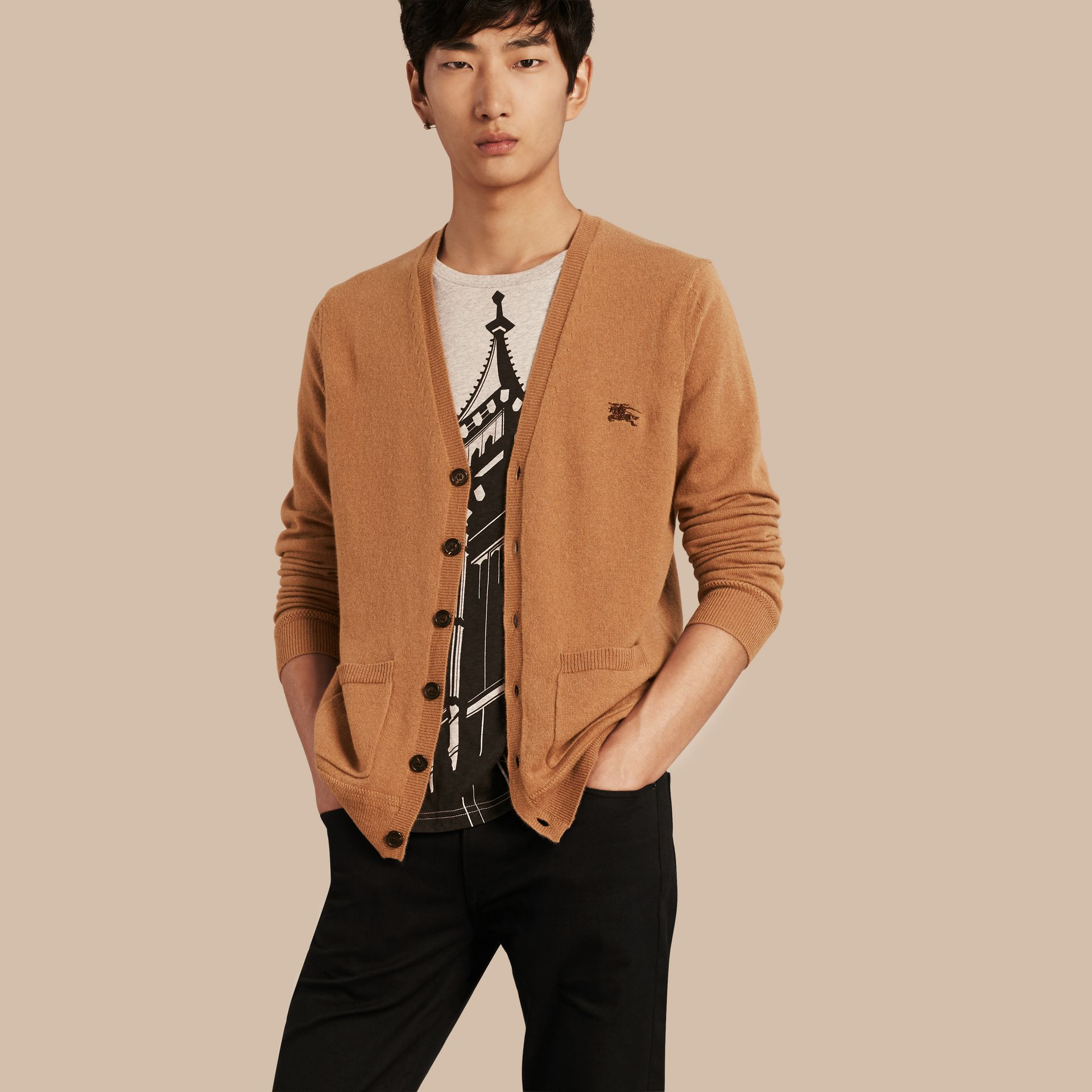 V-Neck Cashmere Cardigan in Mid Camel - gallery image 1