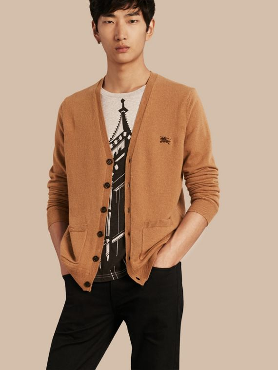V-Neck Cashmere Cardigan in Mid Camel