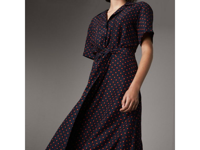 Polka-dot Silk Tea Dress in Parade Red - Women | Burberry - cell image 4