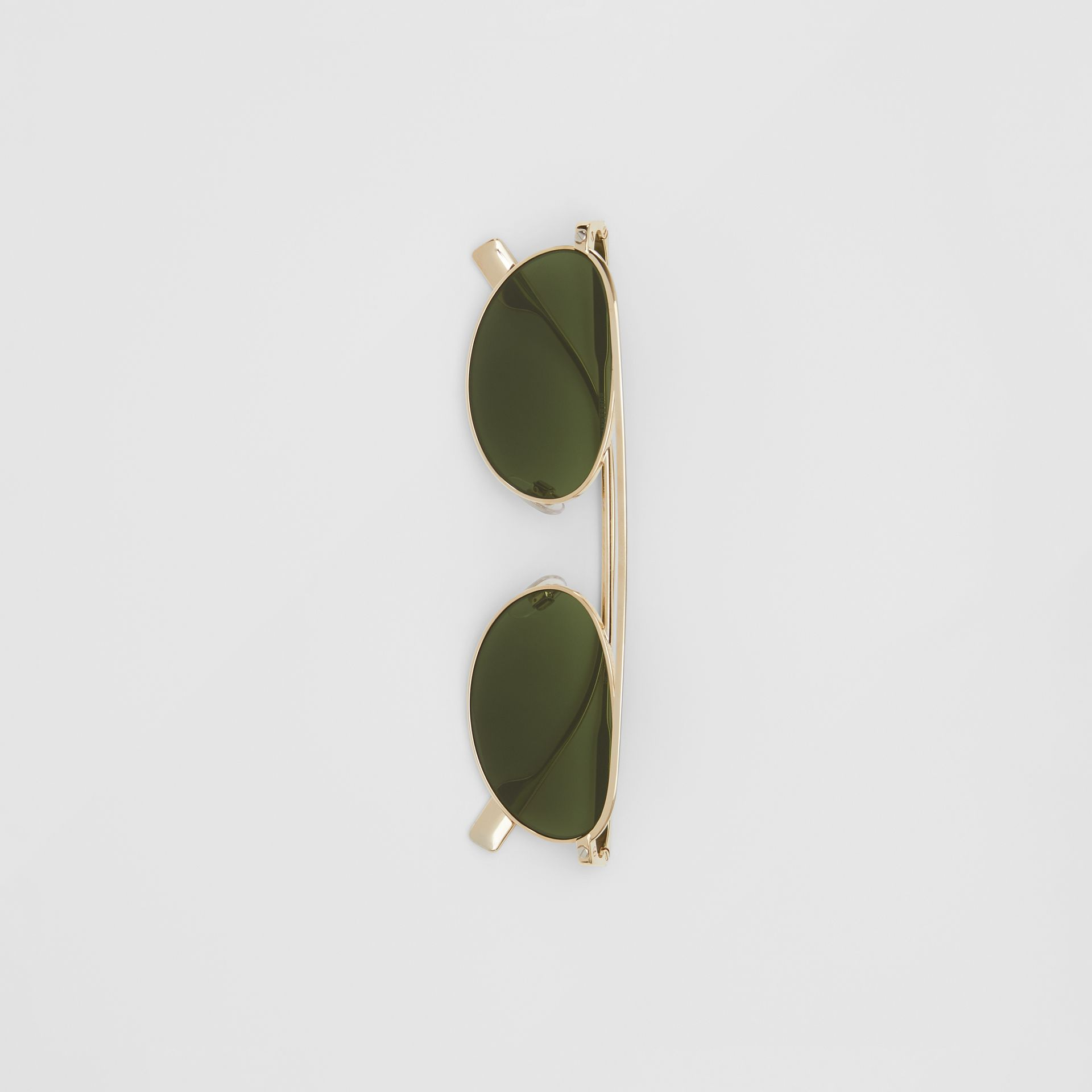Oval Frame Sunglasses in Green - Women | Burberry - gallery image 3