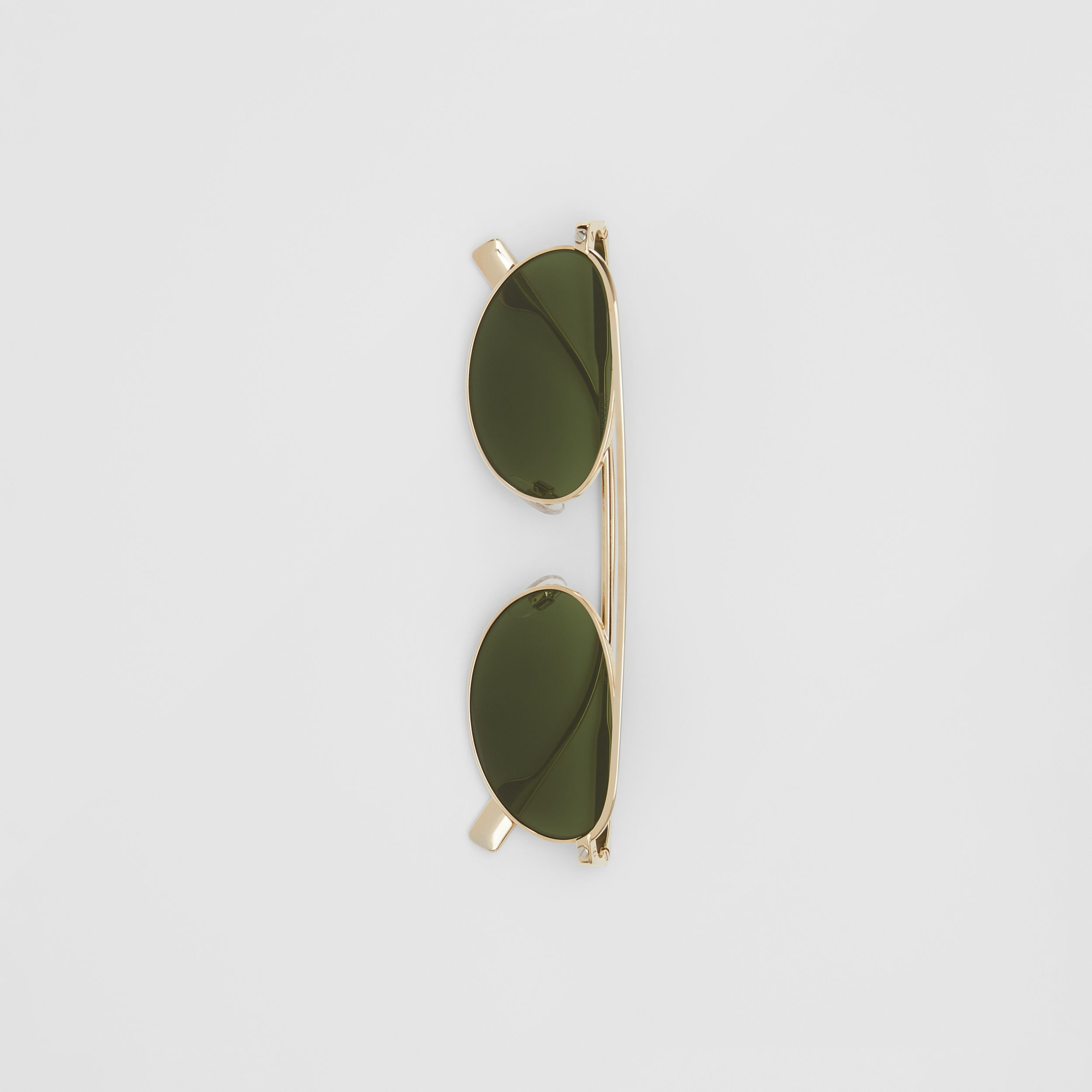 Oval Frame Sunglasses in Green | Burberry - 4
