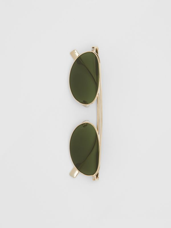 Oval Frame Sunglasses in Green - Women | Burberry - cell image 3