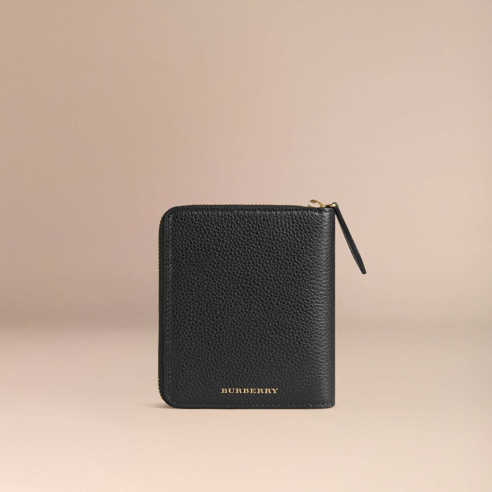 Ziparound Grainy Leather Mini Notebook in Black | Burberry - gallery image 4