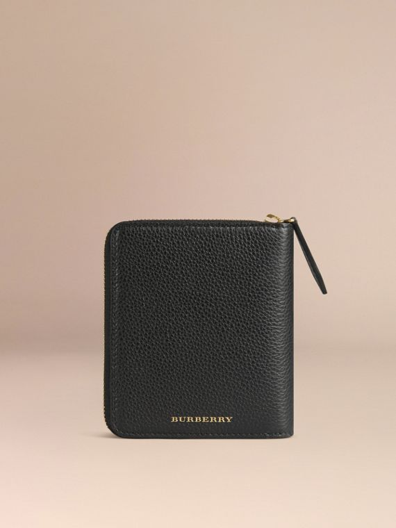 Ziparound Grainy Leather Mini Notebook in Black - cell image 3