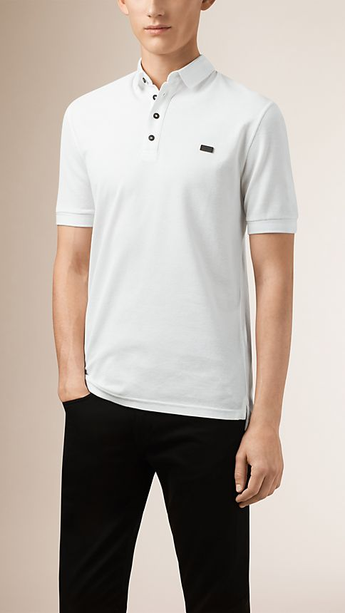 White Double-Weave Piqué Cotton Polo Shirt - Image 1