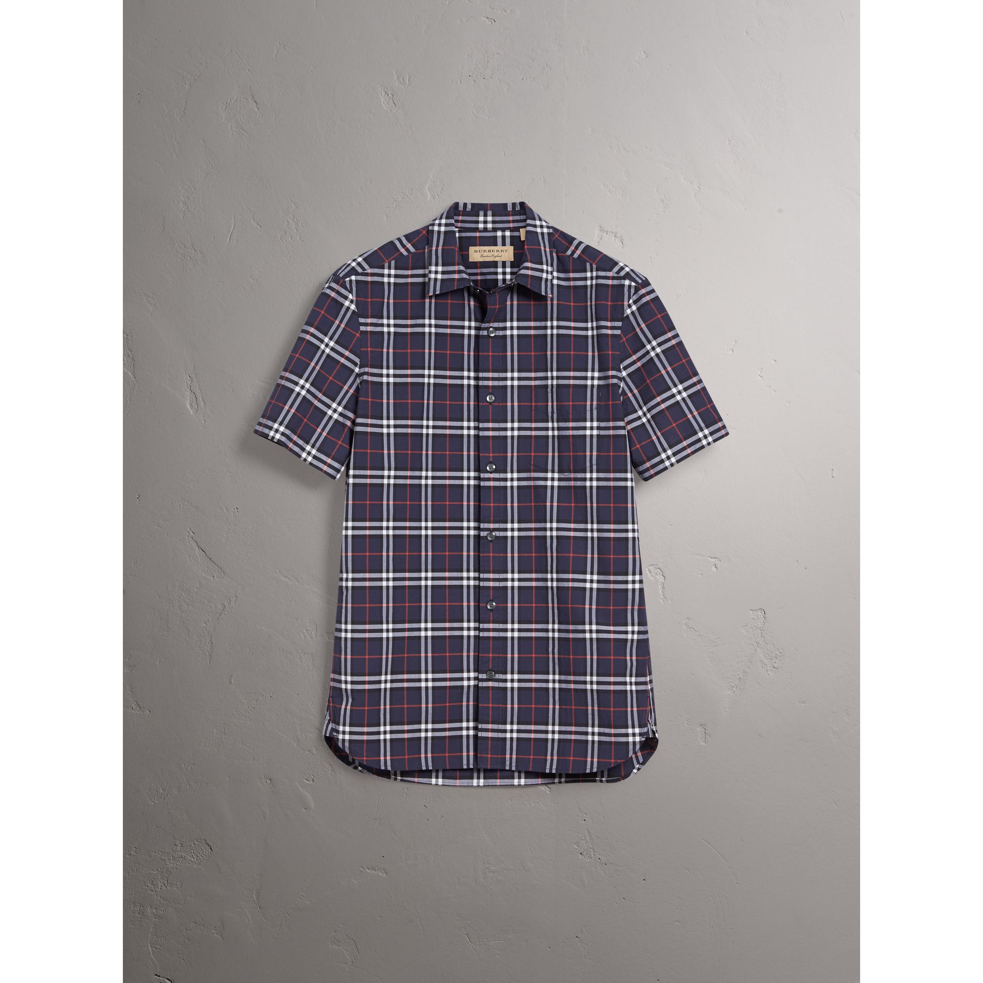 Short-sleeve Check Cotton Shirt in Navy - Men | Burberry - gallery image 3