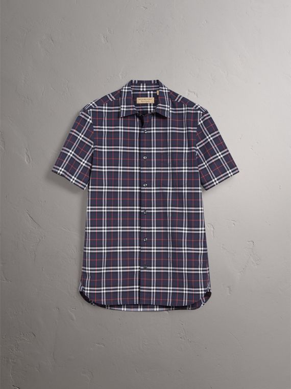 Short-sleeve Check Cotton Shirt in Navy - Men | Burberry Singapore - cell image 2