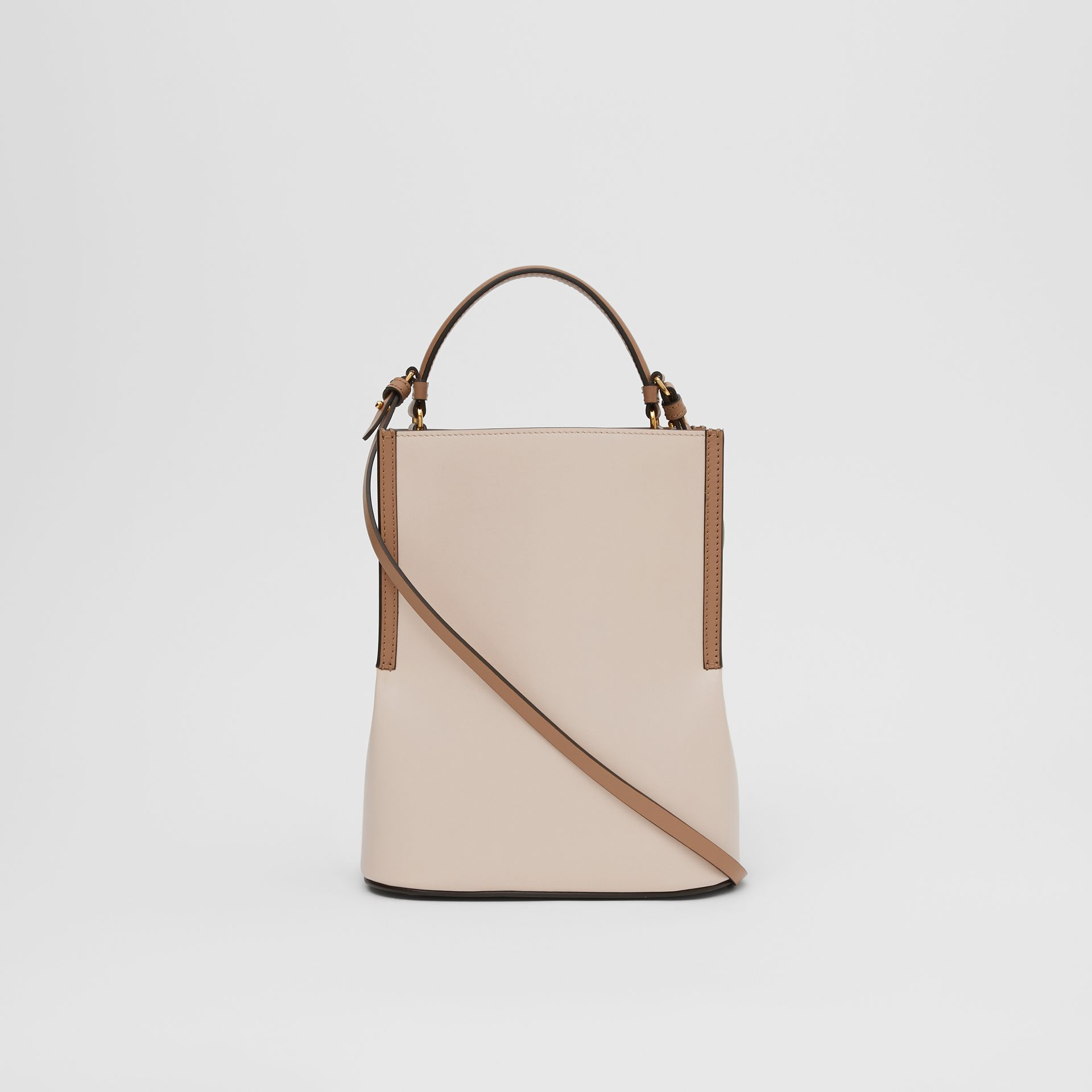 Small Two-tone Leather Peggy Bucket Bag in Buttermilk - Women | Burberry - gallery image 5