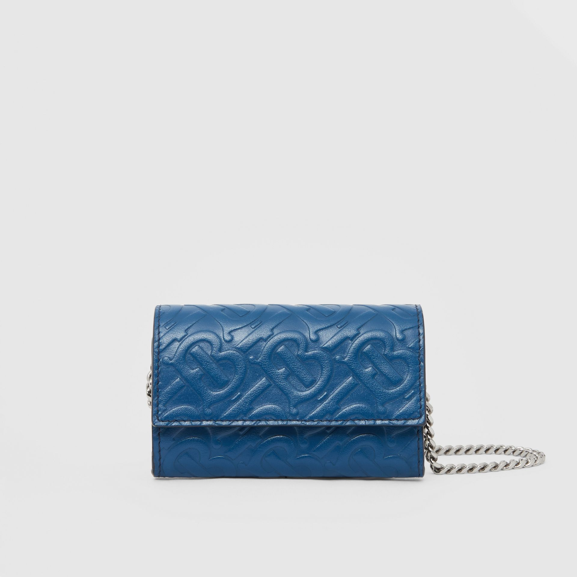 Small Monogram Leather Wallet with Detachable Strap in Pale Canvas Blue   Burberry Hong Kong S.A.R - gallery image 0