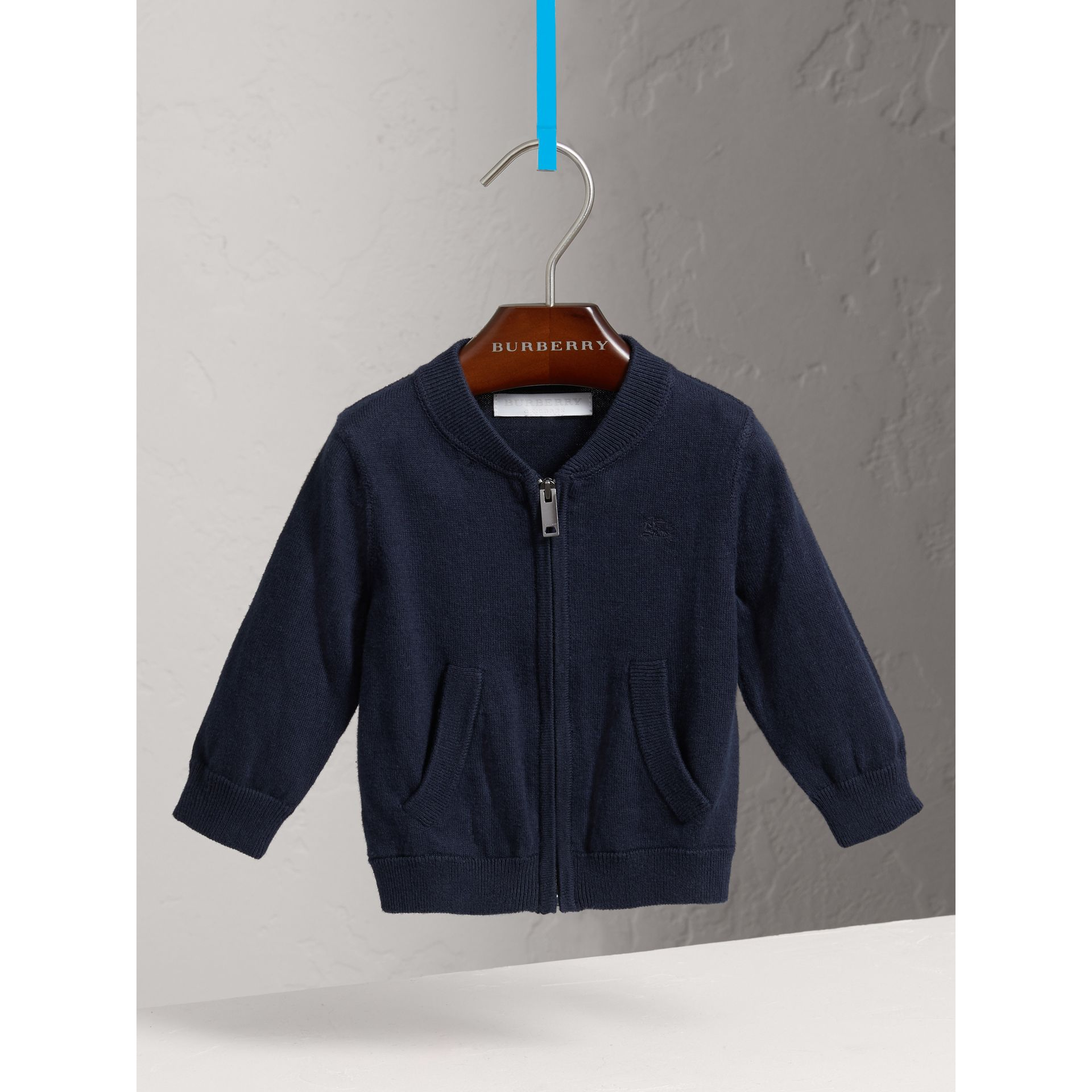 Check Detail Cotton Cardigan in Navy - Boy | Burberry - gallery image 0