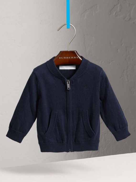 Check Detail Cotton Cardigan in Navy