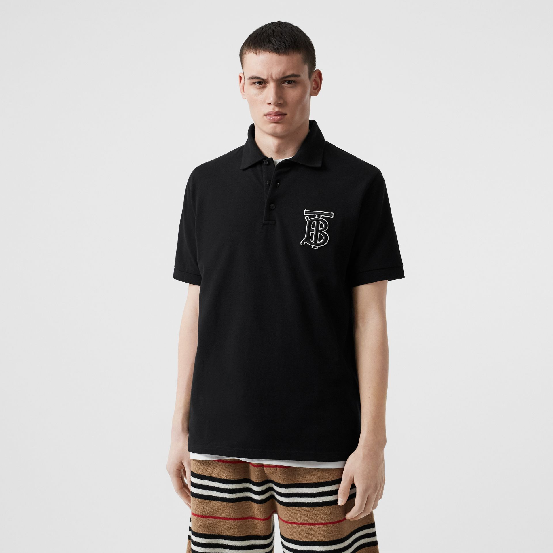 Monogram Motif Cotton Piqué Oversized Polo Shirt in Black | Burberry - gallery image 4