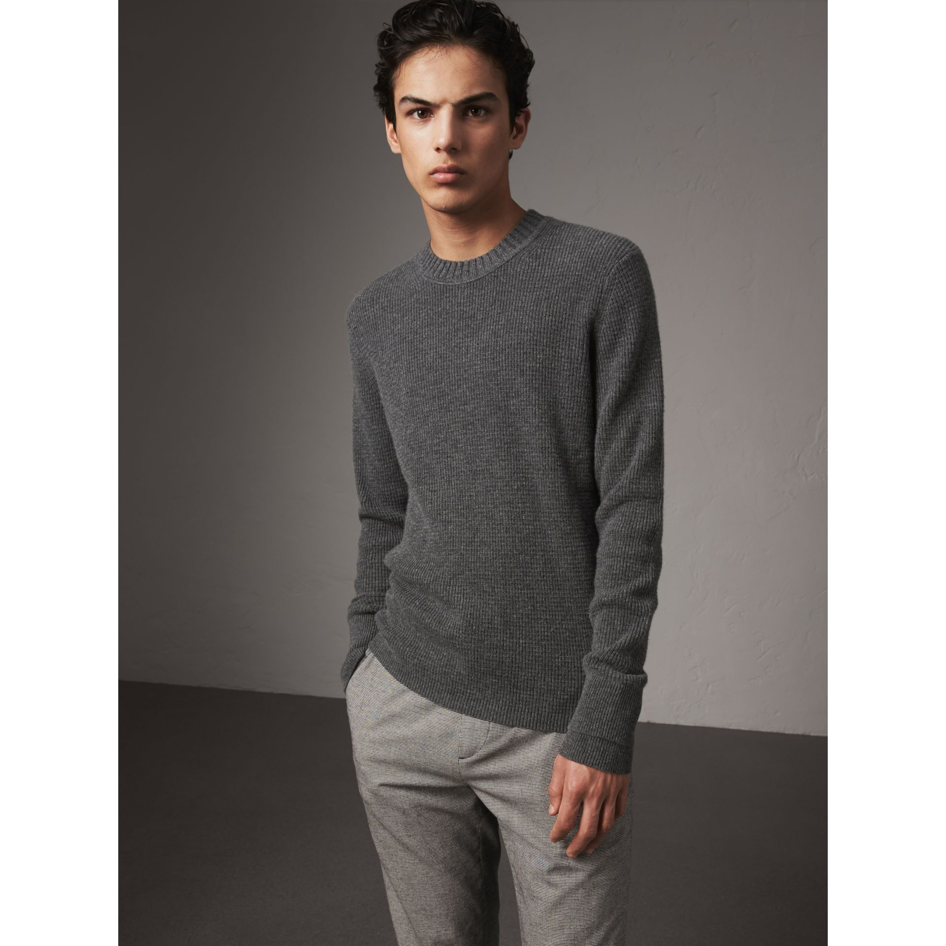 Waffle Knit Cashmere Sweater in Dark Grey Melange - Men | Burberry - gallery image 1