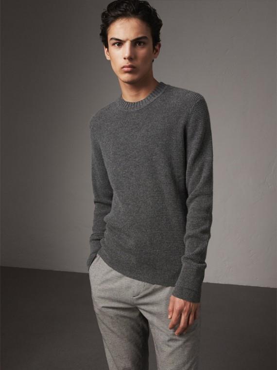 Waffle Knit Cashmere Sweater in Dark Grey Melange