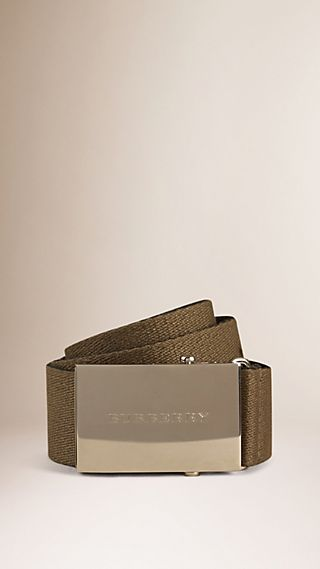 Plaque Buckle Webbed Canvas Belt