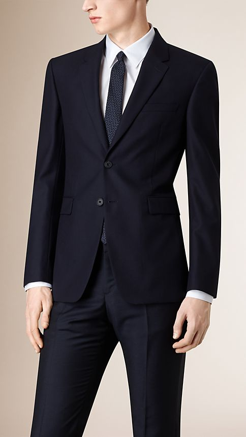 Navy Modern Fit Wool Part-canvas Jacket - Image 1