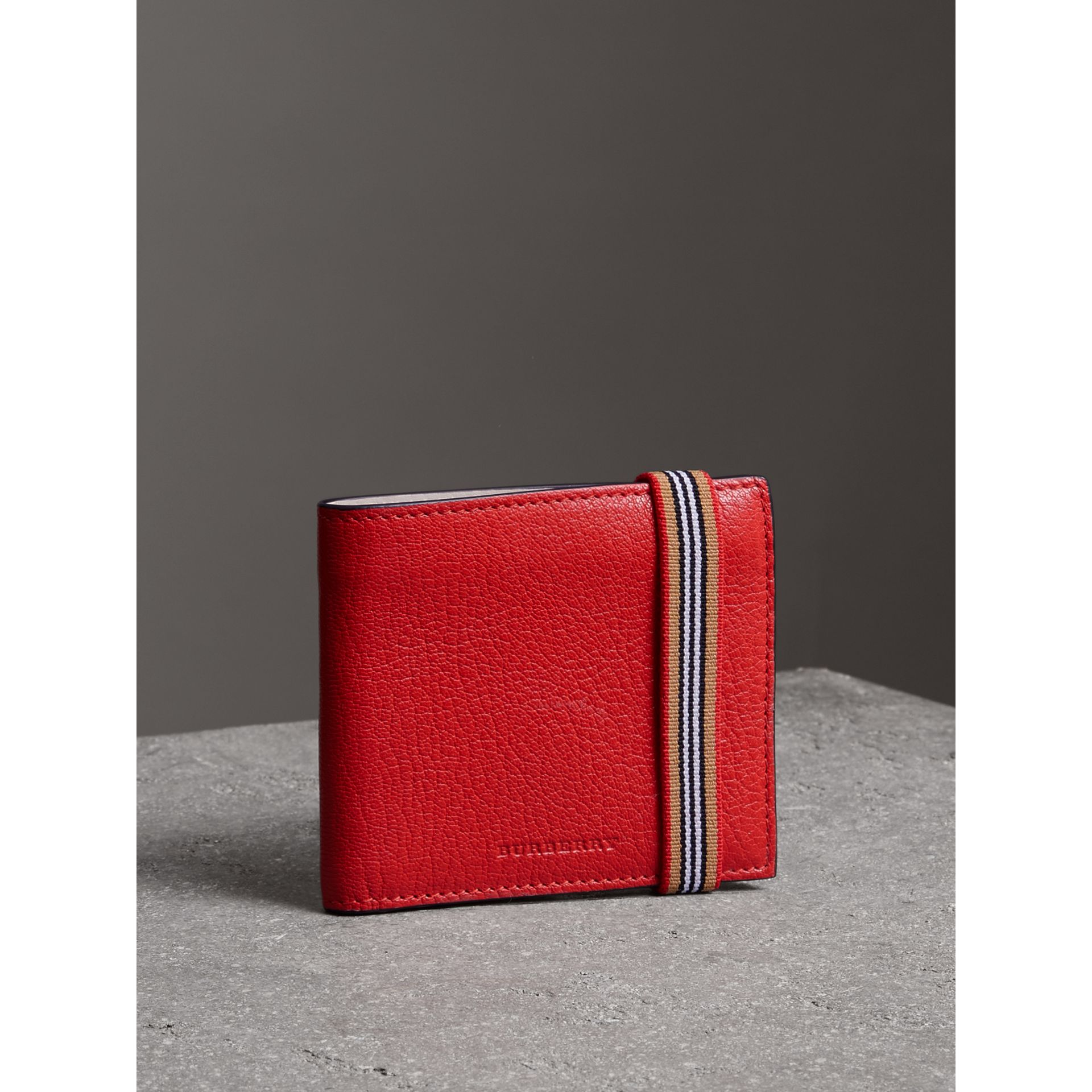 Icon Stripe Leather International Bifold Wallet in Bright Red - Men | Burberry - gallery image 4