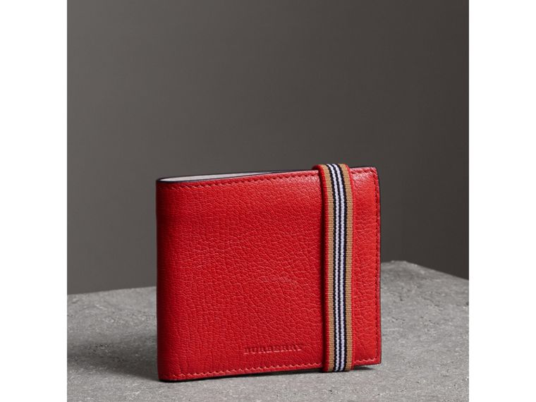 Heritage Stripe Leather International Bifold Wallet in Bright Red - Men | Burberry - cell image 4