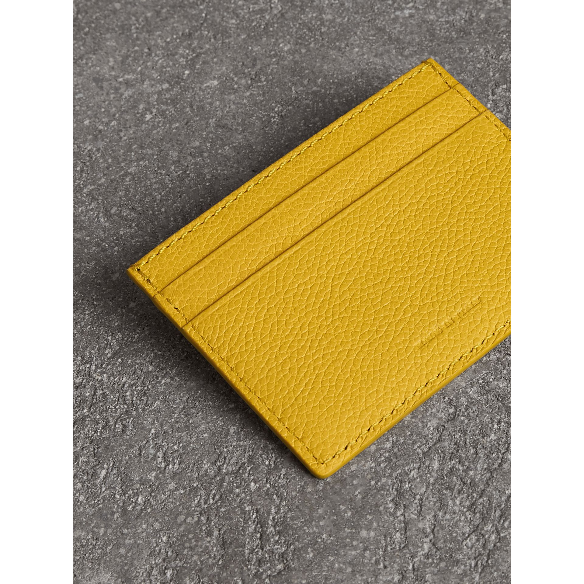 Grainy Leather Card Case in Bright Ochre Yellow | Burberry - gallery image 2