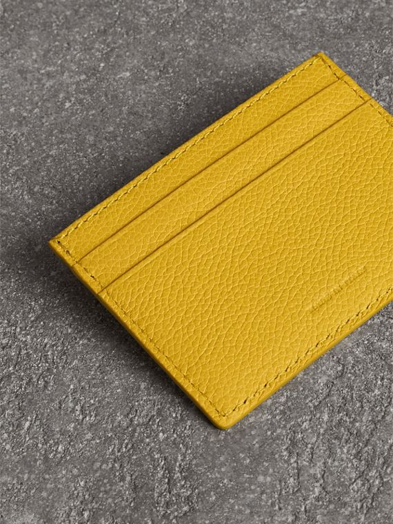 Grainy Leather Card Case in Bright Ochre Yellow | Burberry - cell image 2