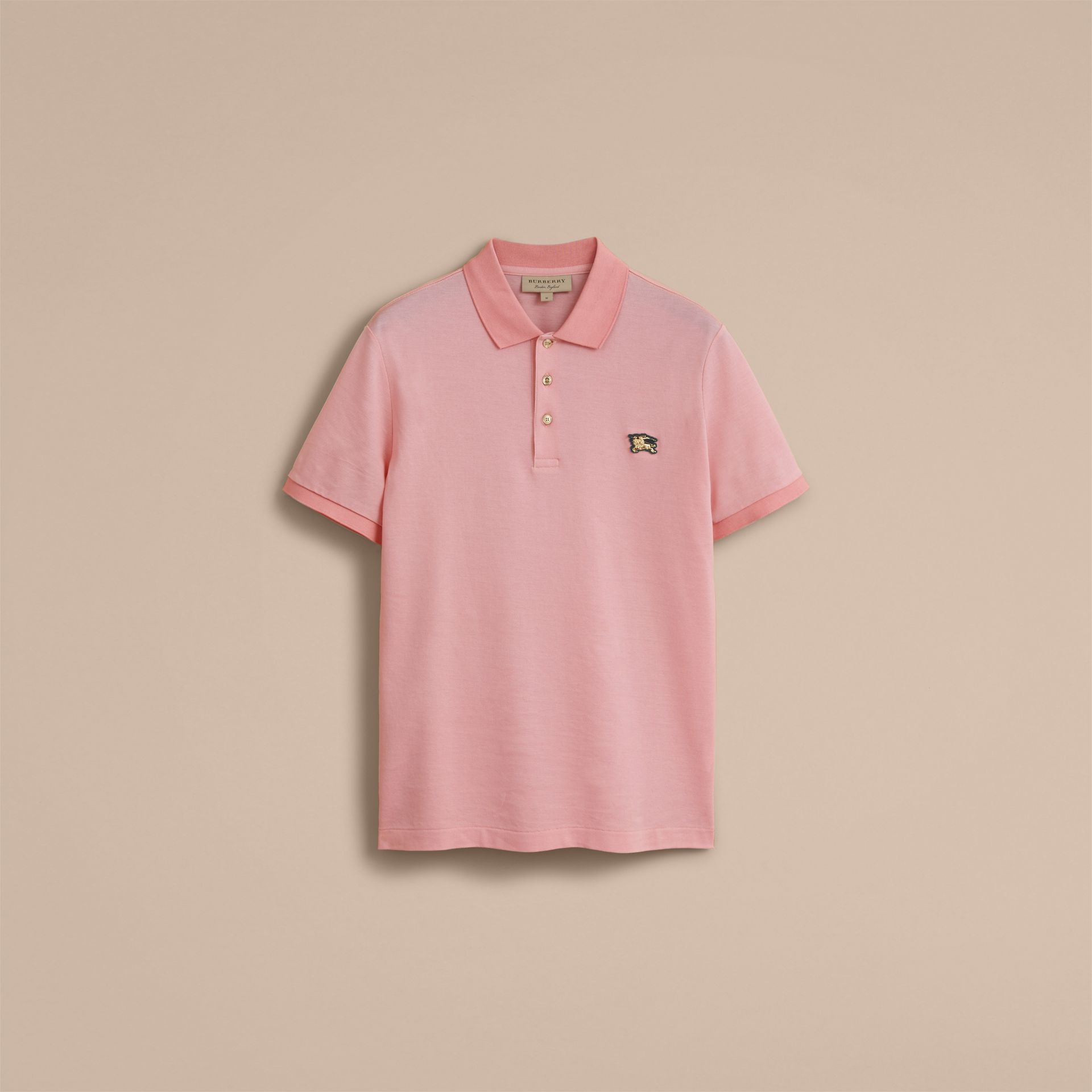 Cotton Piqué Polo Shirt in Chalk Pink - Men | Burberry - gallery image 4