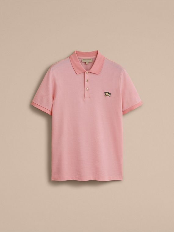Cotton Piqué Polo Shirt in Chalk Pink - Men | Burberry - cell image 3