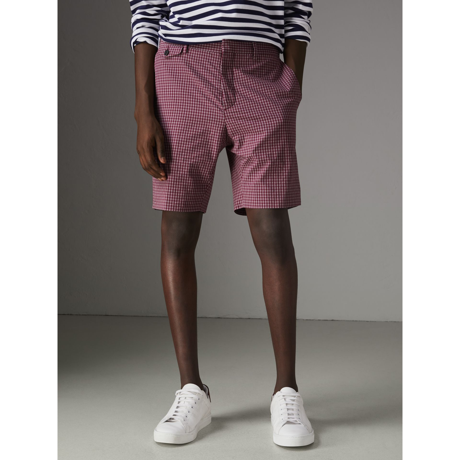 Gingham Cotton Tailored Shorts in Elderberry - Men | Burberry Australia - gallery image 4