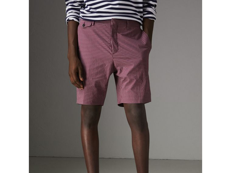 Gingham Cotton Tailored Shorts in Elderberry - Men | Burberry Australia - cell image 4