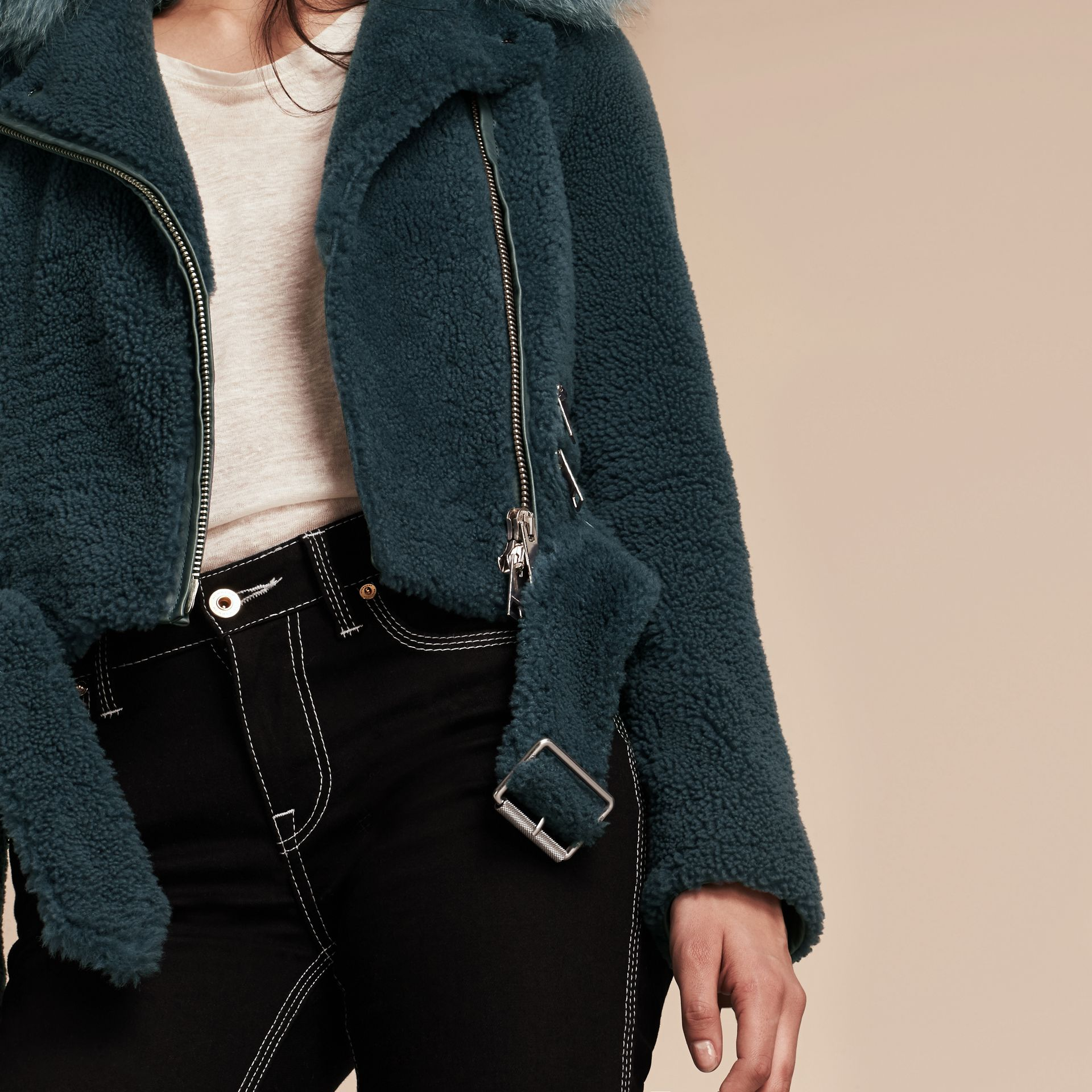 Light steel blue Shearling Biker Jacket with Fur Collar Light Steel Blue - gallery image 6