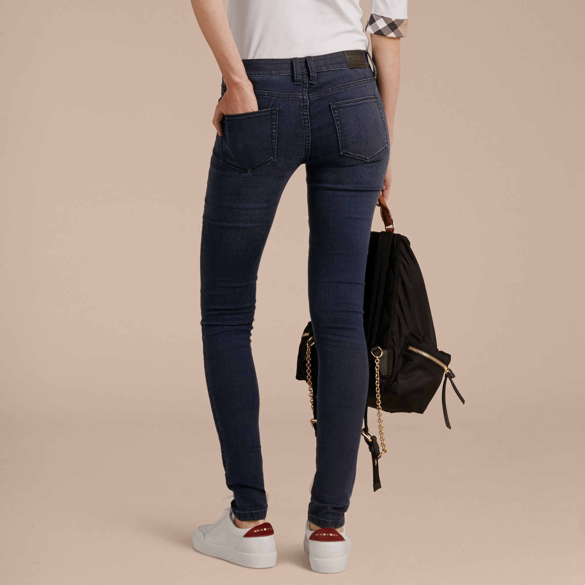 Skinny Fit Power-Stretch Jeans in Dark Indigo - Women | Burberry - gallery image 3