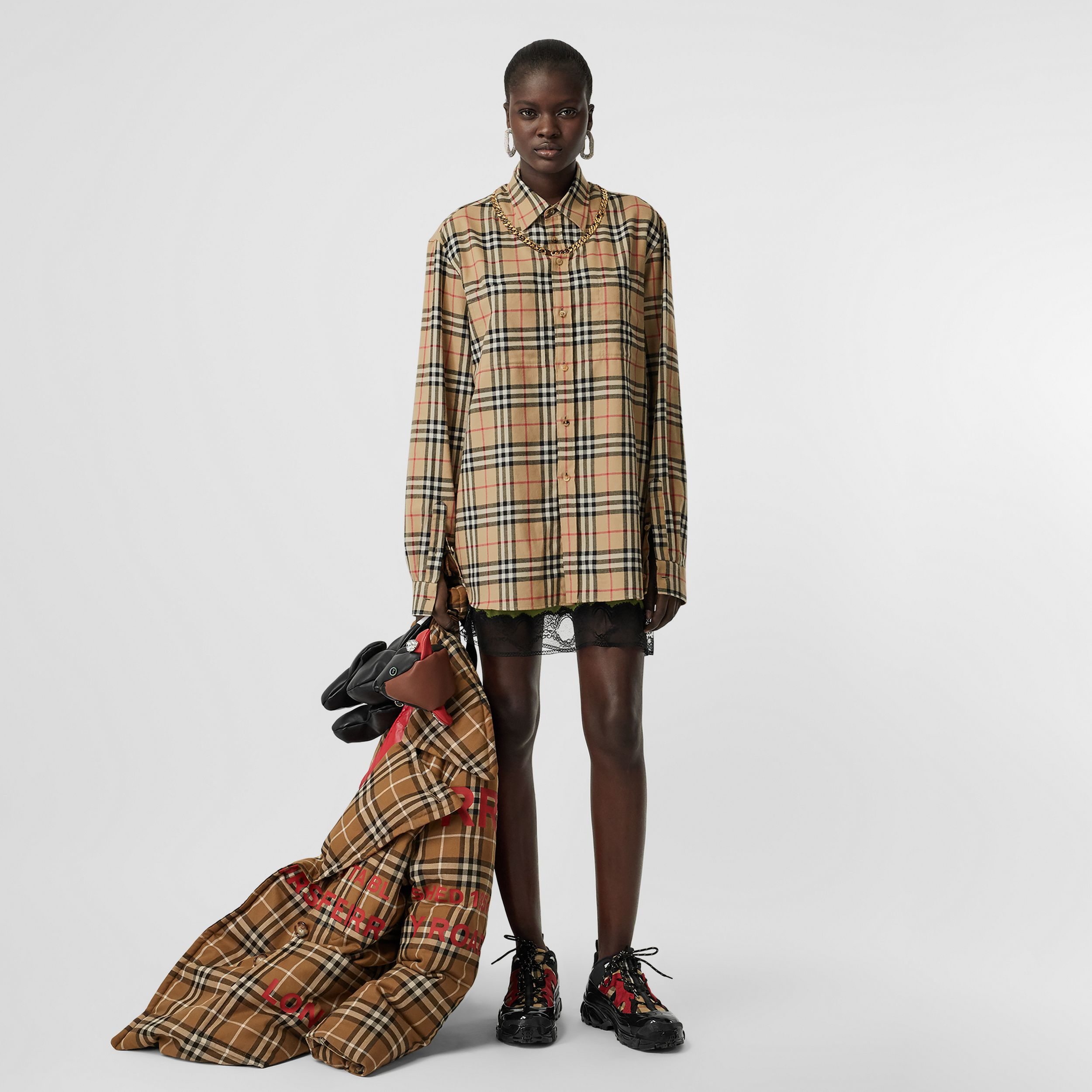 Chain Detail Vintage Check Cotton Flannel Shirt in Archive Beige - Women | Burberry - 4