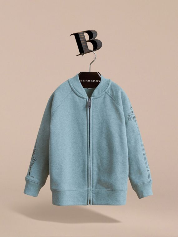 London Icons Print Cotton Zip-front Sweatshirt in Dusty Blue - Boy | Burberry Singapore - cell image 2