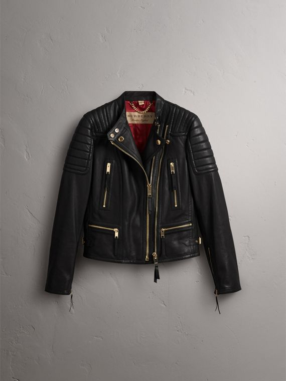 Quilted Panel Lambskin Biker Jacket in Black - Women | Burberry - cell image 3