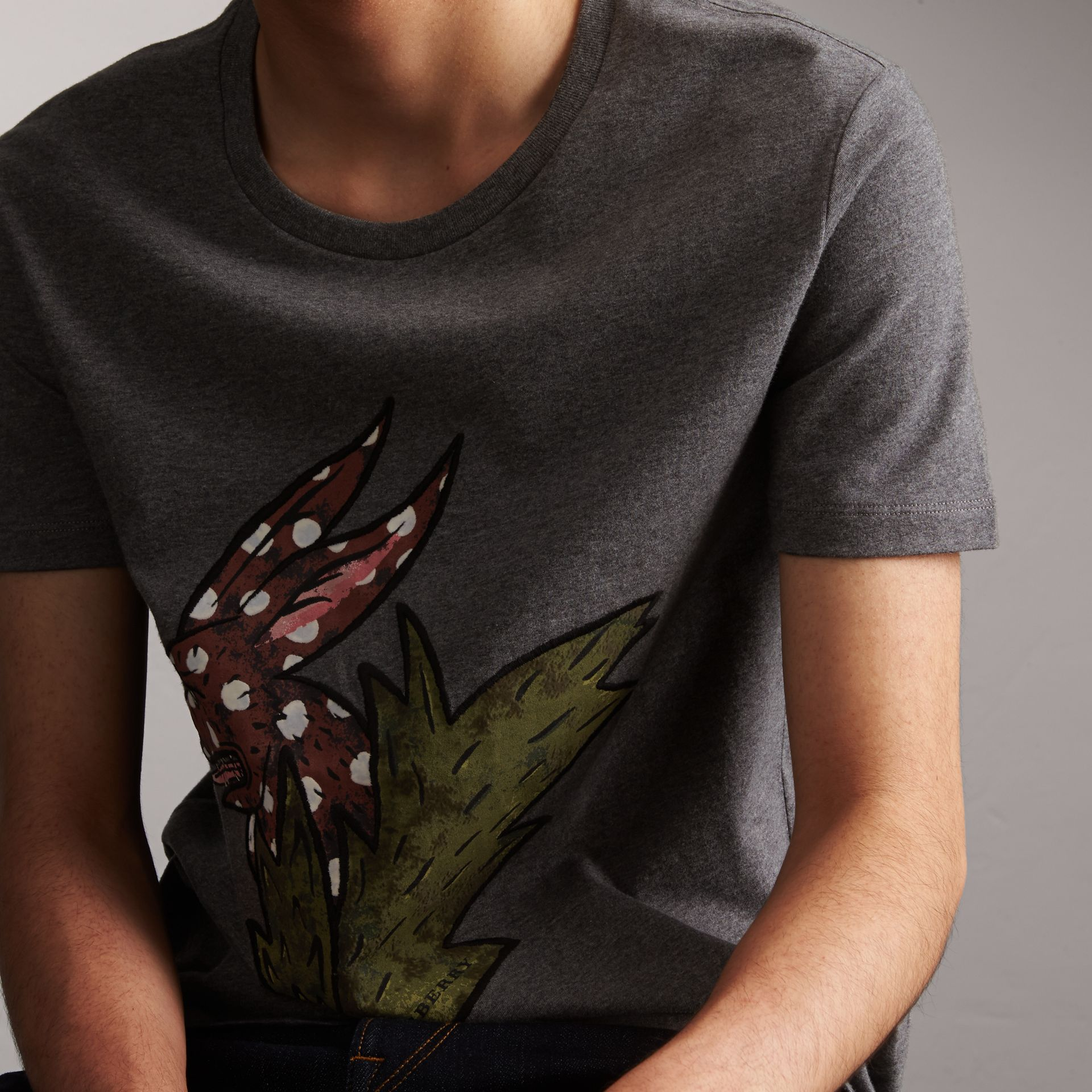 Flocked and Embroidered Beasts Print Cotton T-shirt in Mid Grey Melange - Men | Burberry - gallery image 5