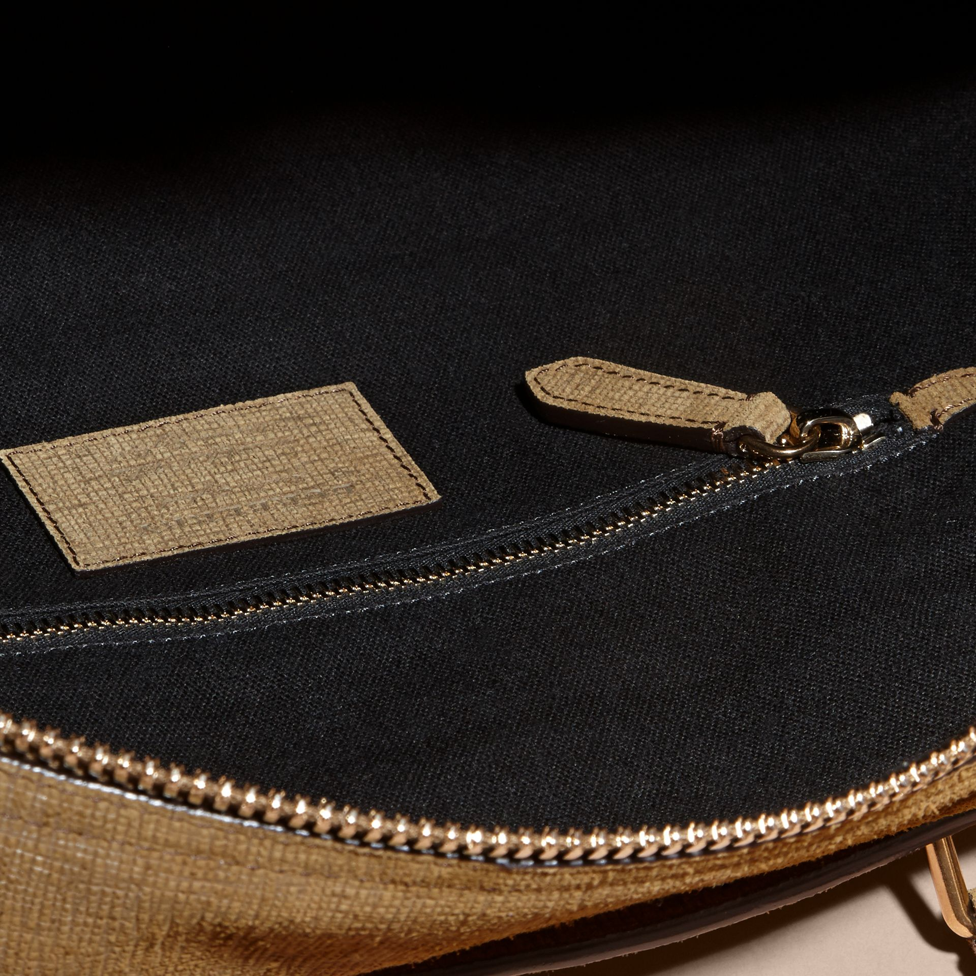 Textured Suede and House Check Detail Holdall - gallery image 5
