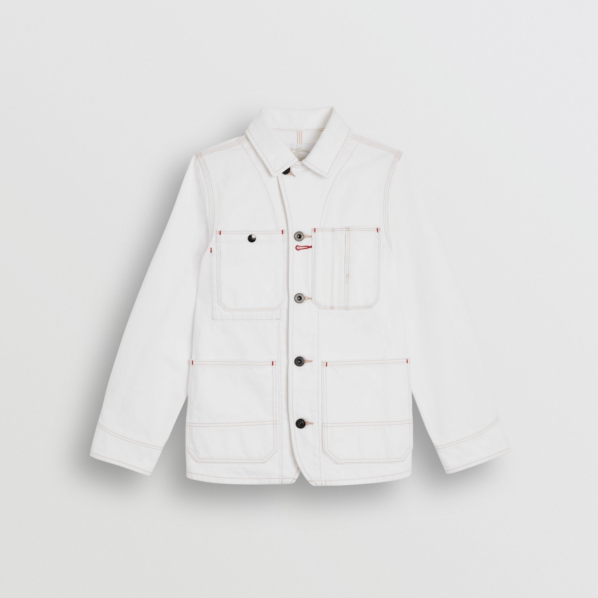 Topstitched Denim Jacket in Natural White - Children | Burberry - gallery image 0
