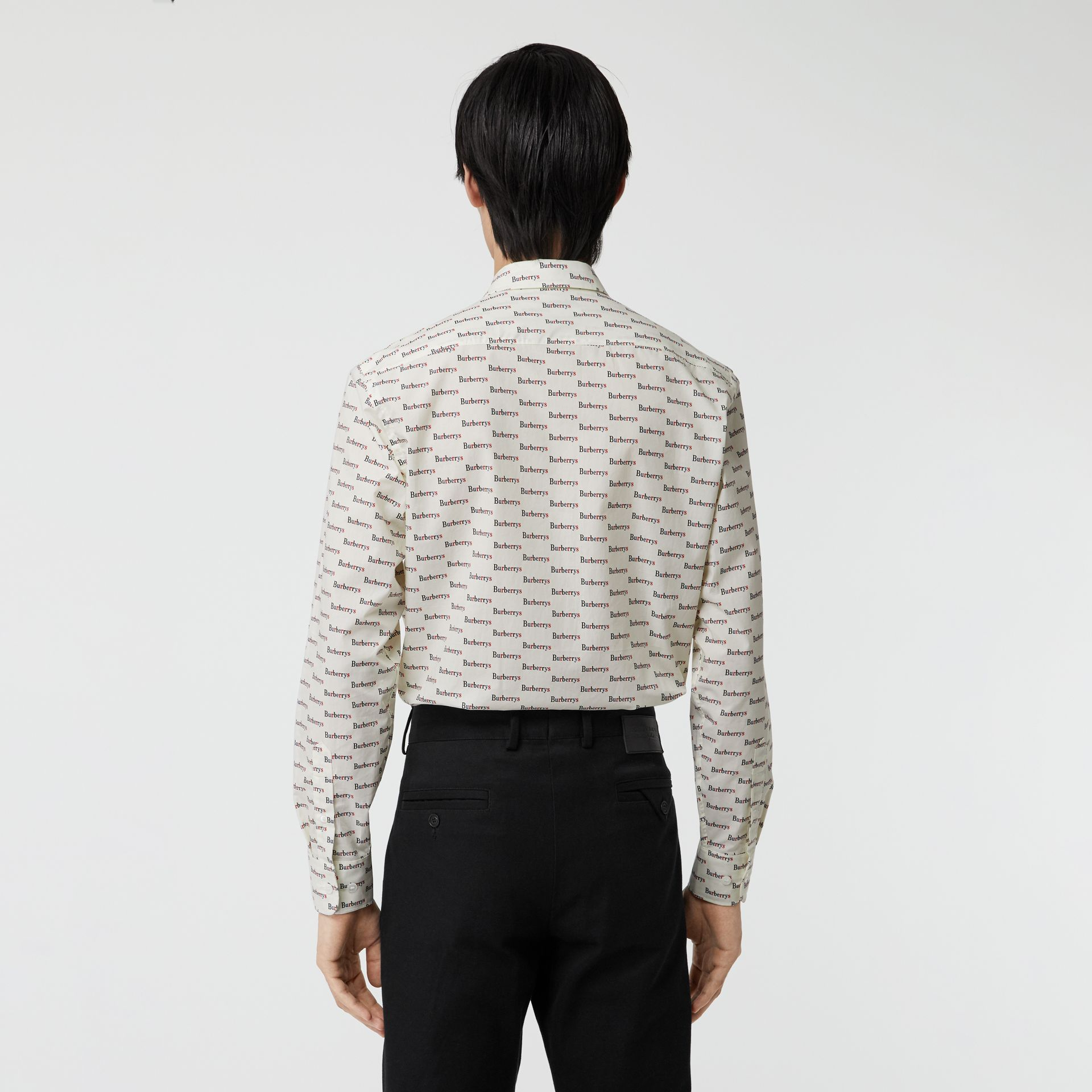 Logo Print Cotton Shirt in White - Men | Burberry Canada - gallery image 2