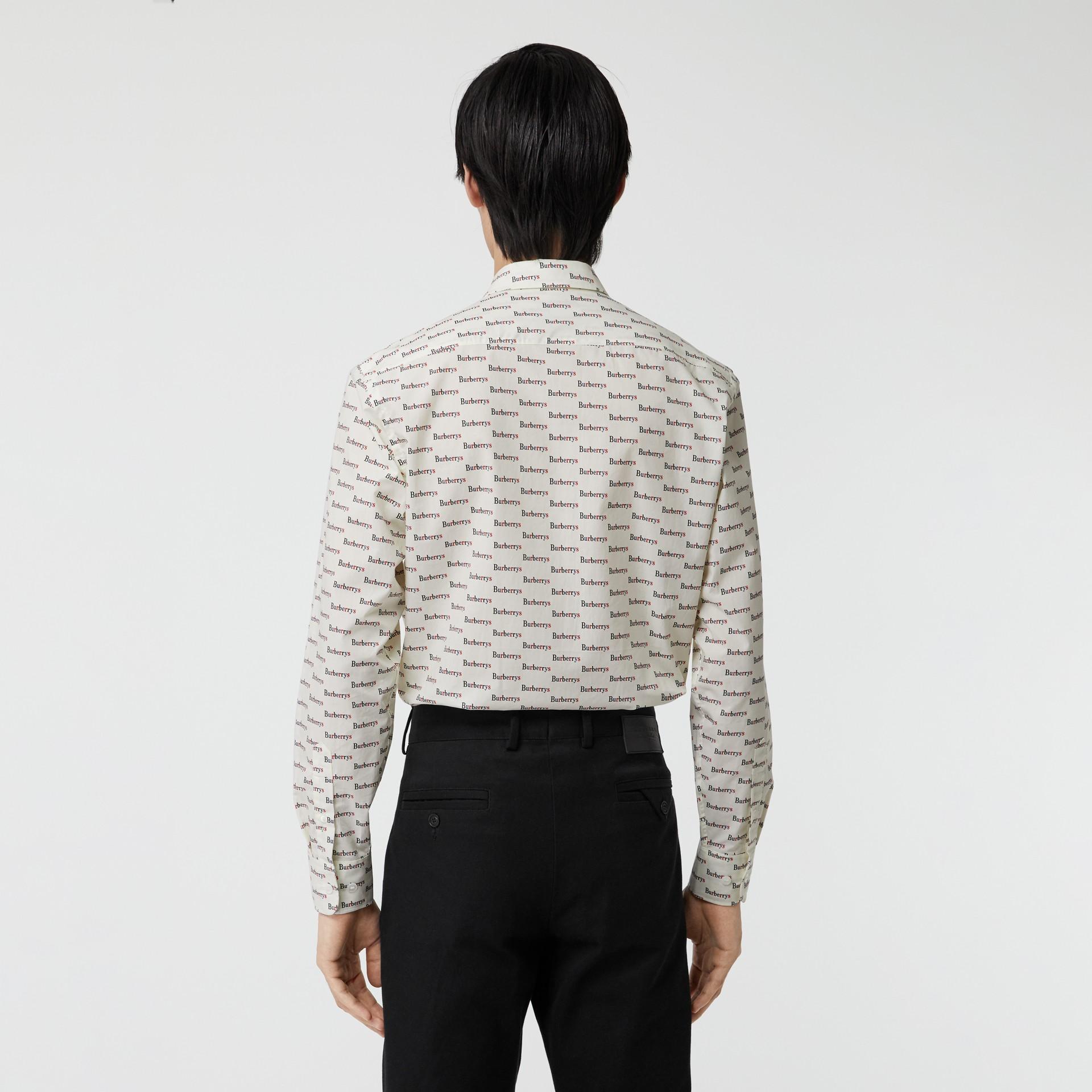 Camisa en algodón con estampado de logotipo (Blanco) - Hombre | Burberry - imagen de la galería 2