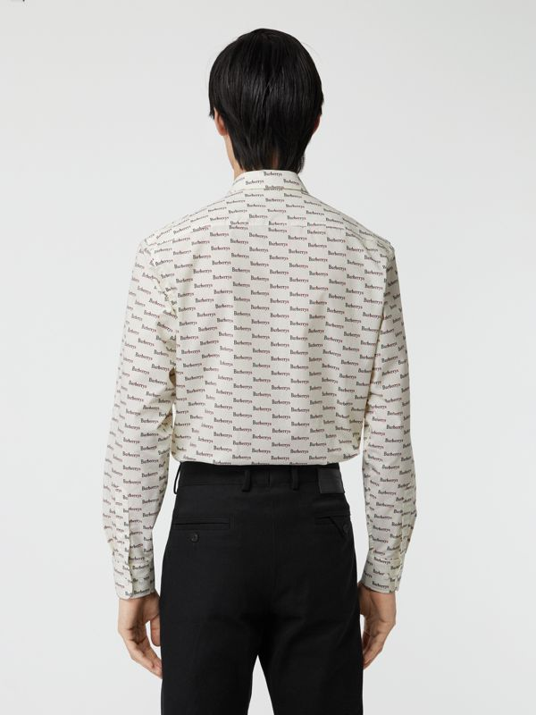 Logo Print Cotton Shirt in White - Men | Burberry United States - cell image 2