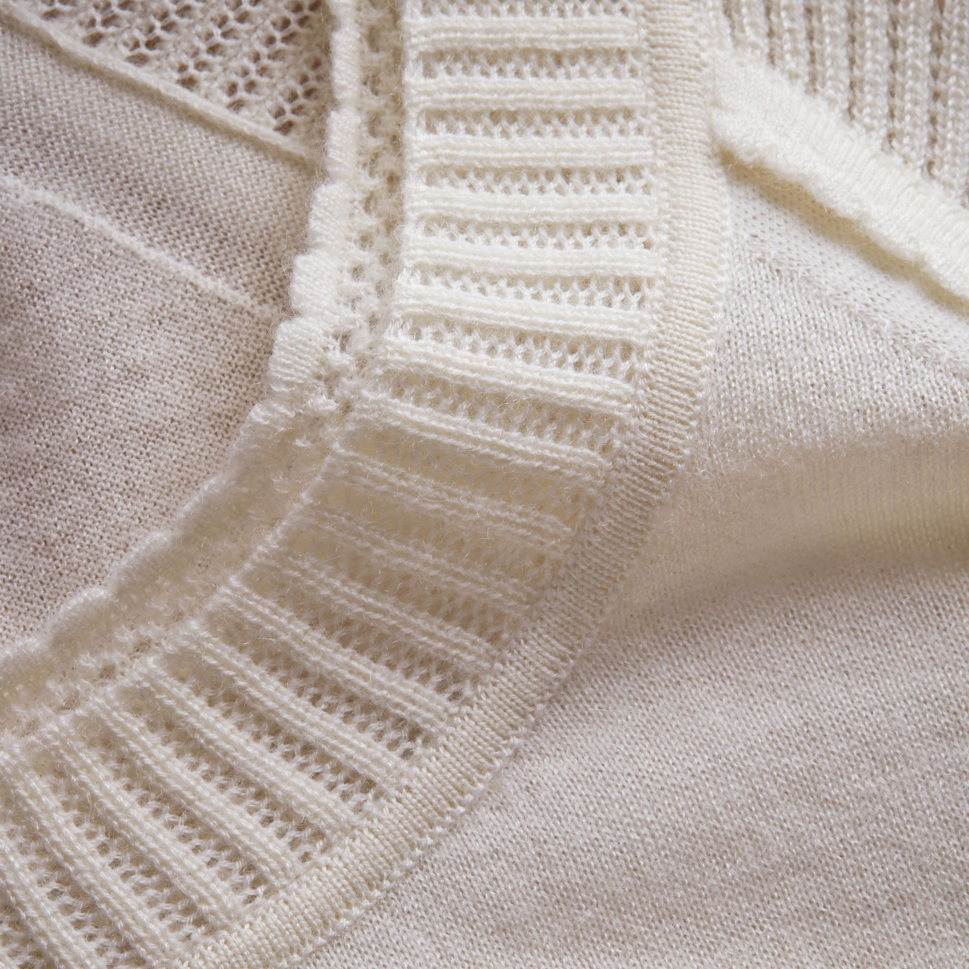 Open-knit Detail Cashmere Crew Neck Sweater Natural White - gallery image 2
