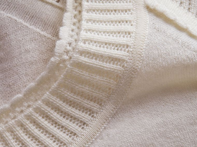 Open-knit Detail Cashmere Crew Neck Sweater in Natural White - Women | Burberry - cell image 1