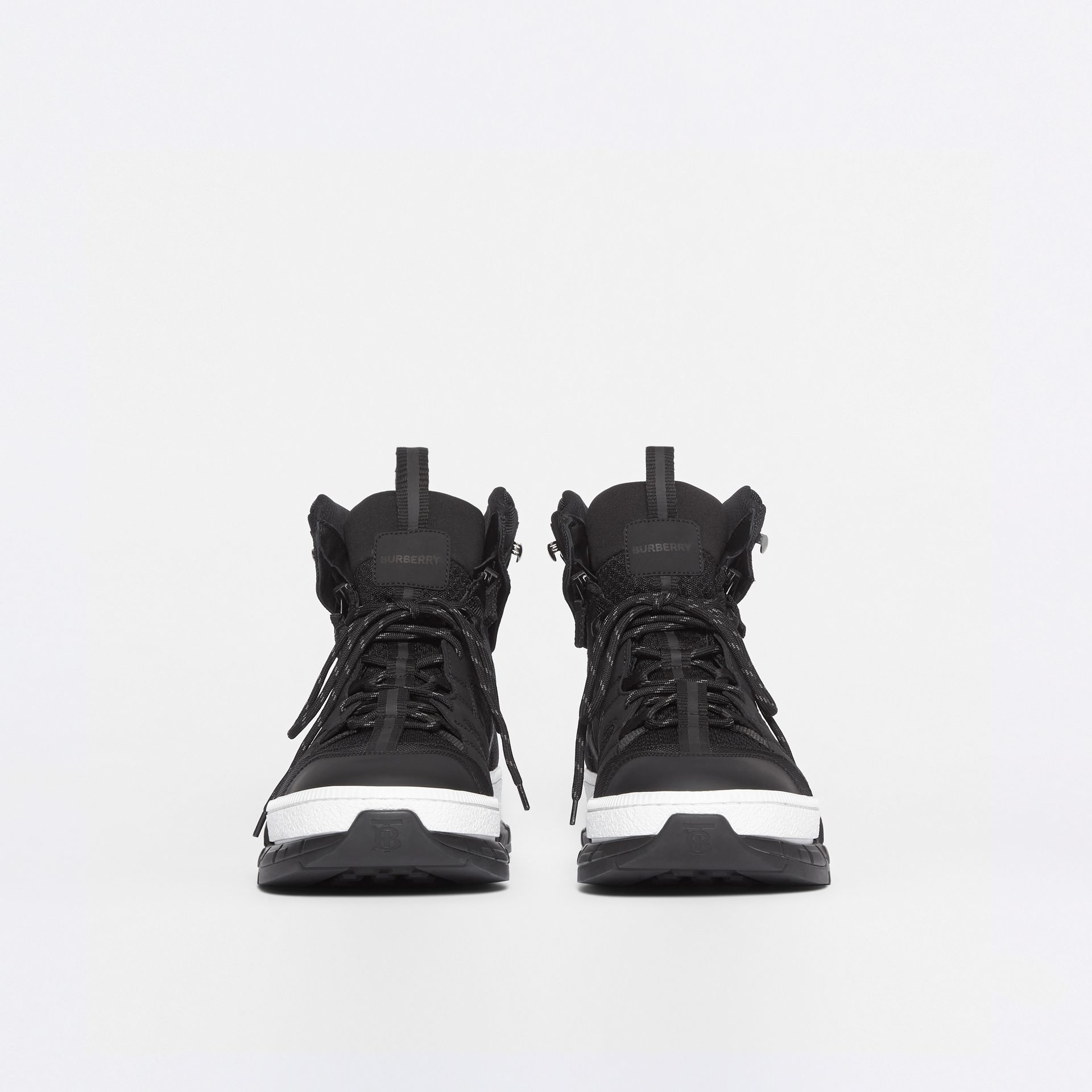 Mesh and Nubuck Union High-top Sneakers in Black - Men | Burberry - gallery image 3
