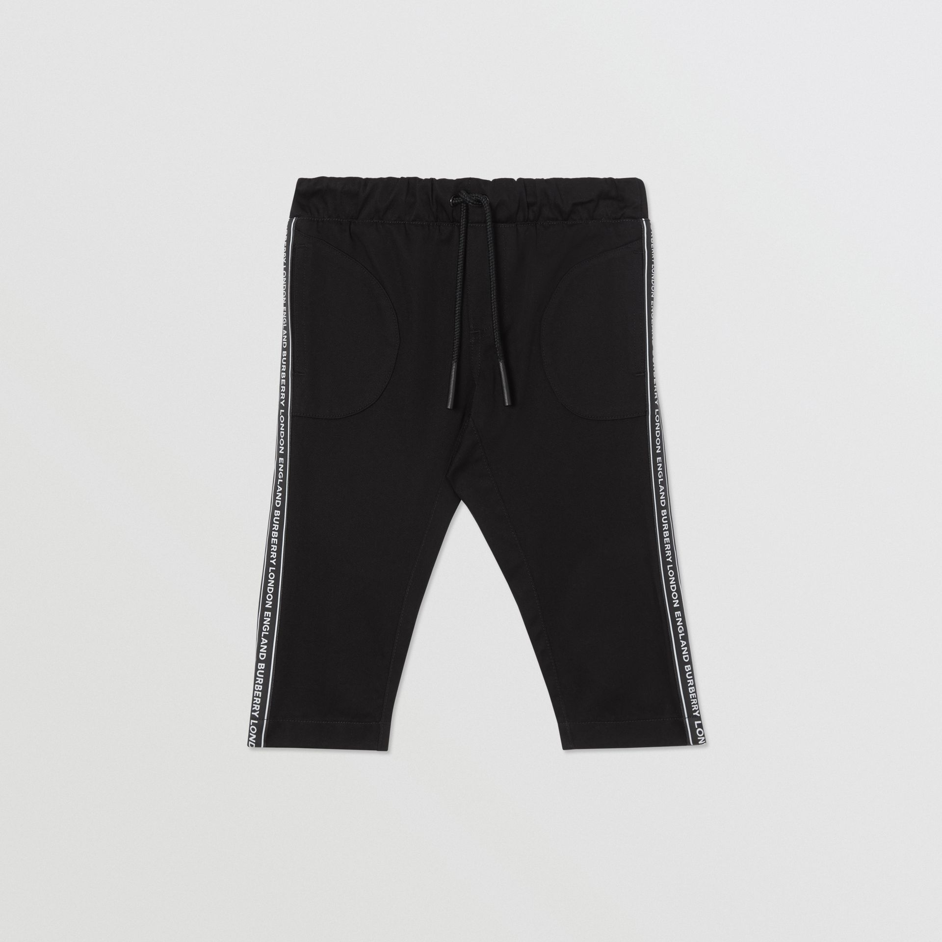 Logo Tape Cotton Chinos in Black - Children | Burberry - gallery image 0