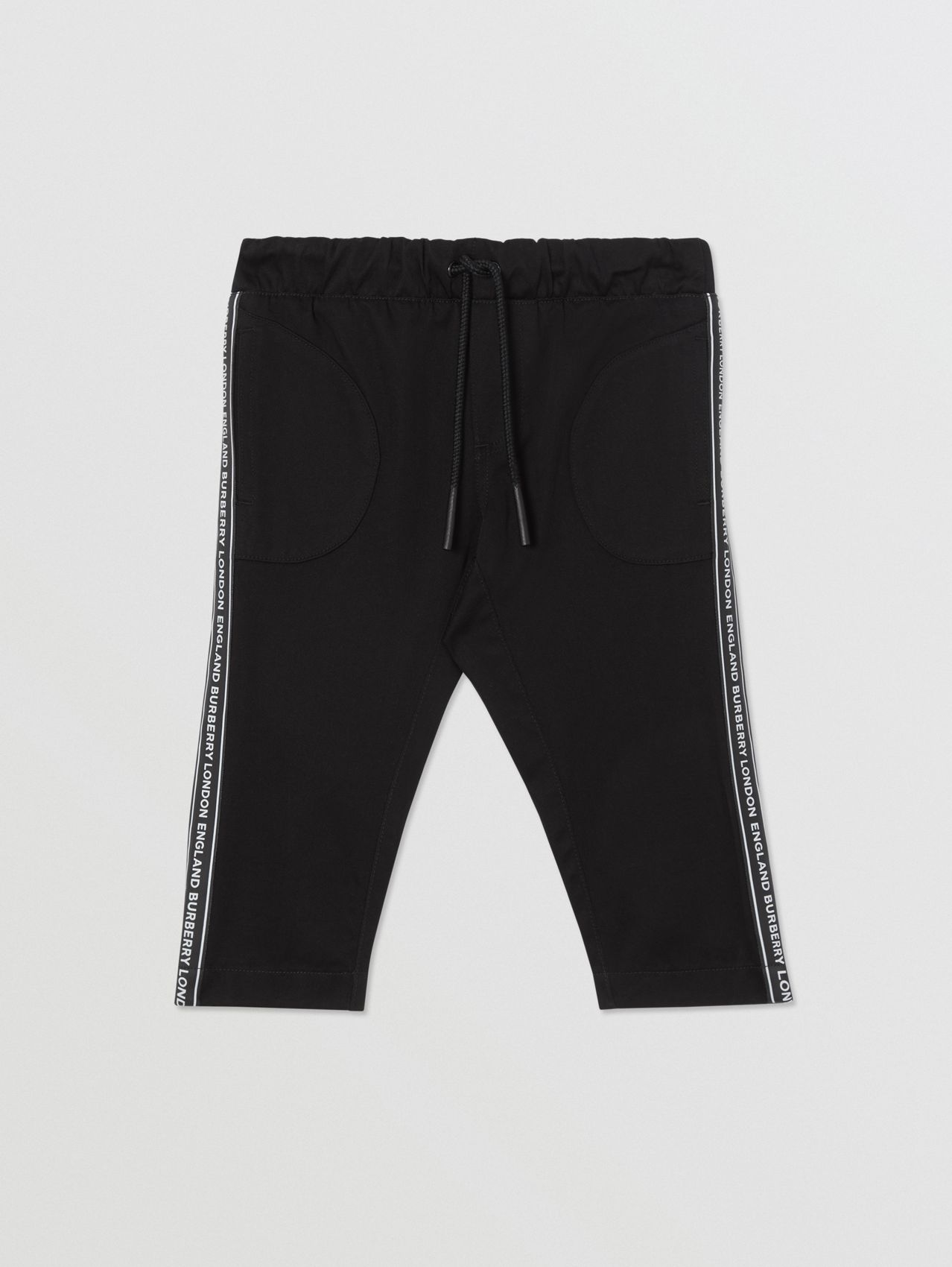 Logo Tape Cotton Chinos in Black