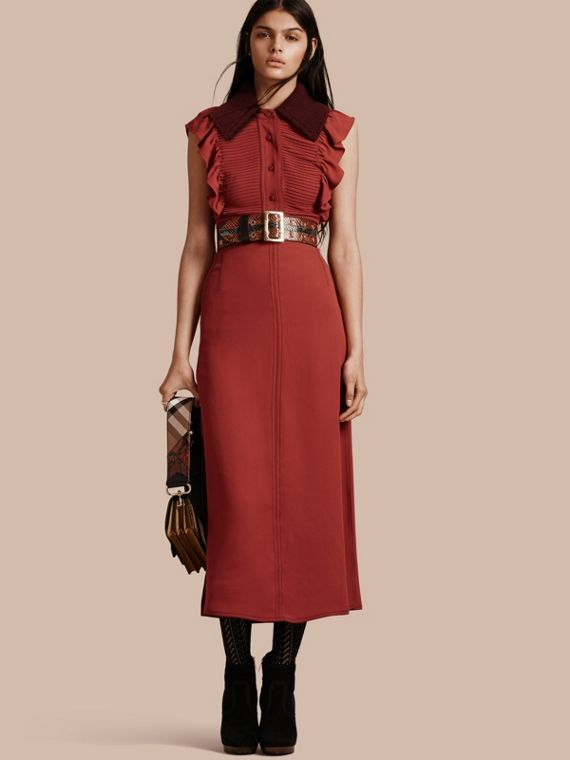 Pintuck and Ruffle Shirt Dress