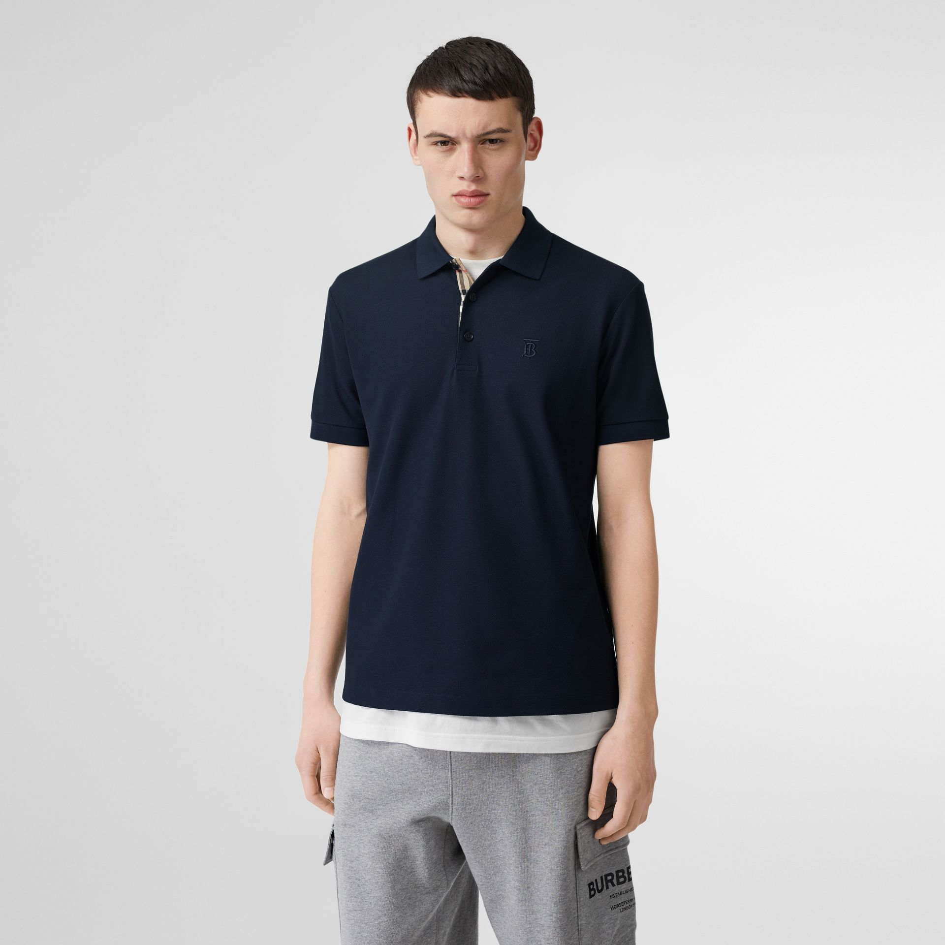 Monogram Motif Cotton Piqué Polo Shirt in Navy - Men | Burberry - gallery image 4